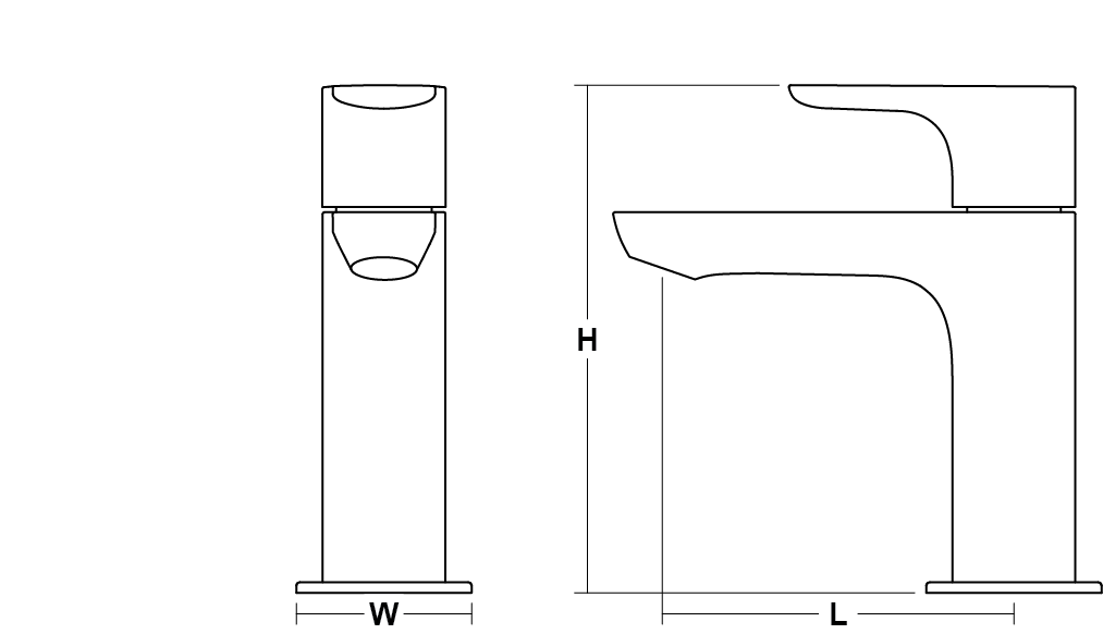 Aleo Pillar tap Line Drawing