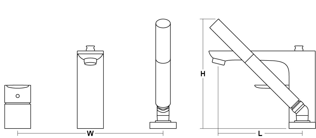Aleo 3-hole deck mount bath filler Line Drawing
