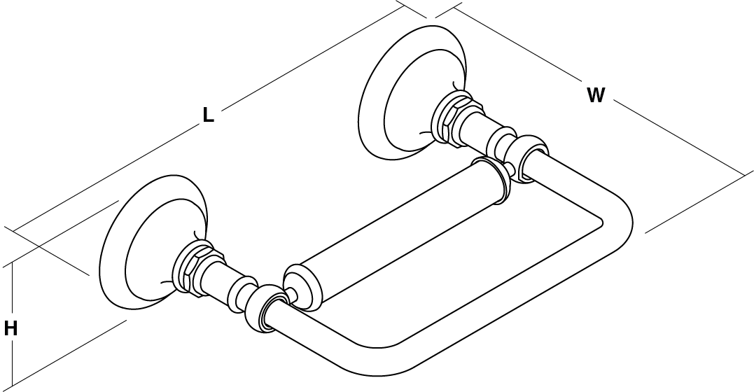Artifacts® Pivoting Toilet Roll Holder Line Drawing