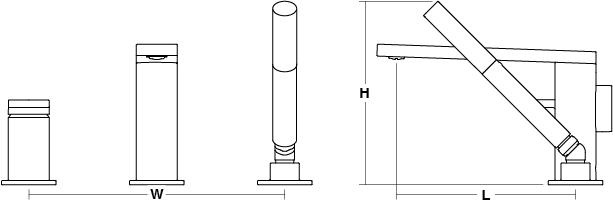 Composed 3-hole deck mount bath filler with handshower Line Drawing