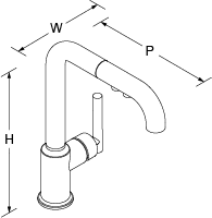 Purist Pull-down tap Line Drawing