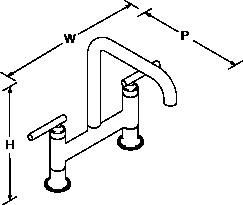 Purist Deck-mount bridge tap Line Drawing