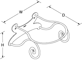 Vessel Wall-mount bracket Line Drawing