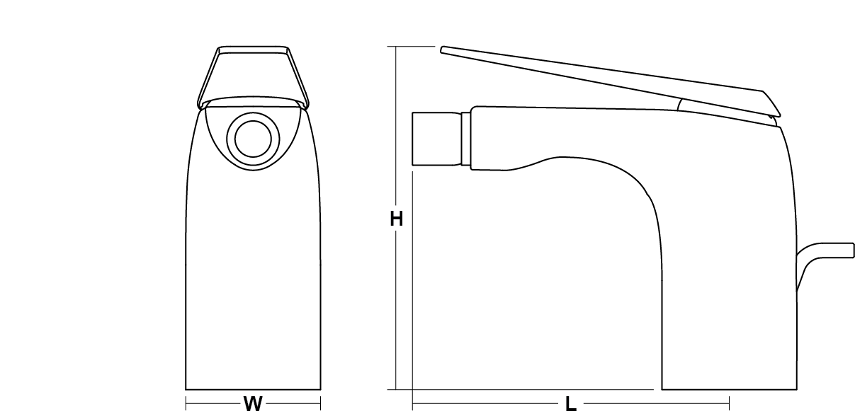 Avid single-lever monobloc bidet mixer Line Drawing