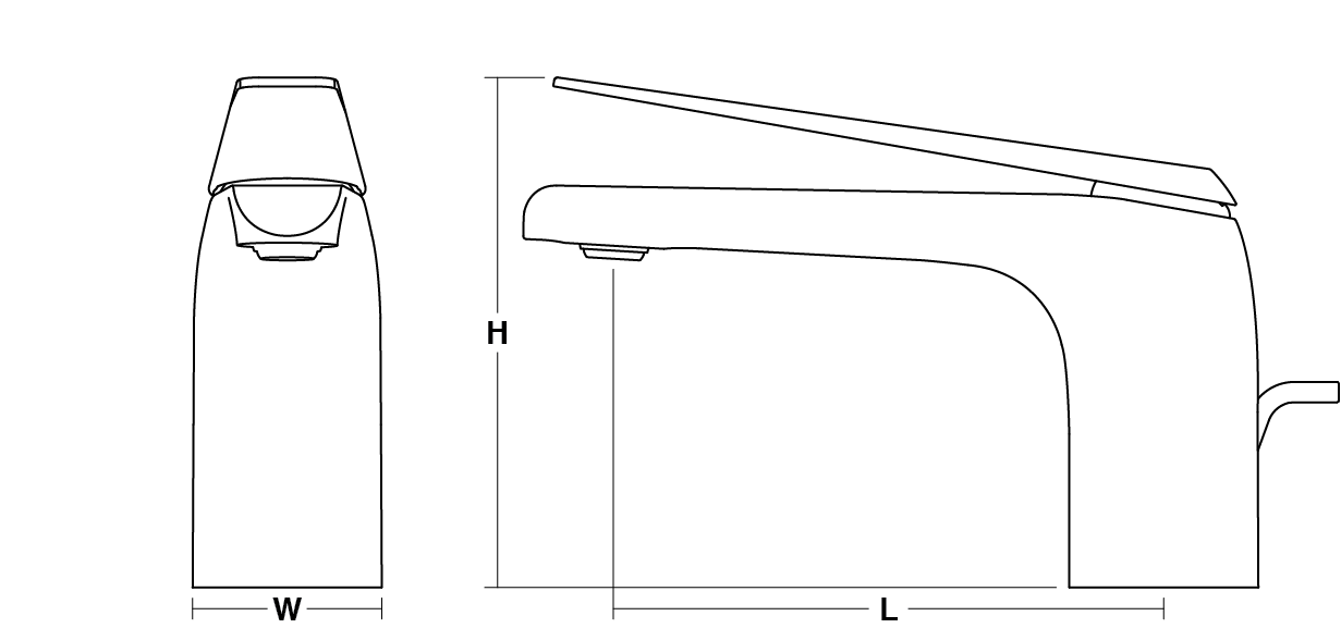 Avid single-lever monobloc basin mixer without waste Line Drawing