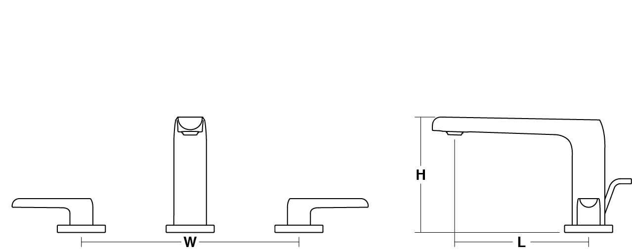 Avid 2-handle 3-hole basin mixer Line Drawing