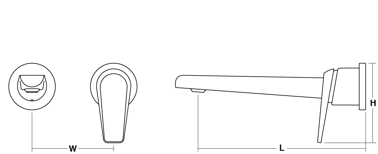 Avid single-lever wall-mount basin mixer Line Drawing