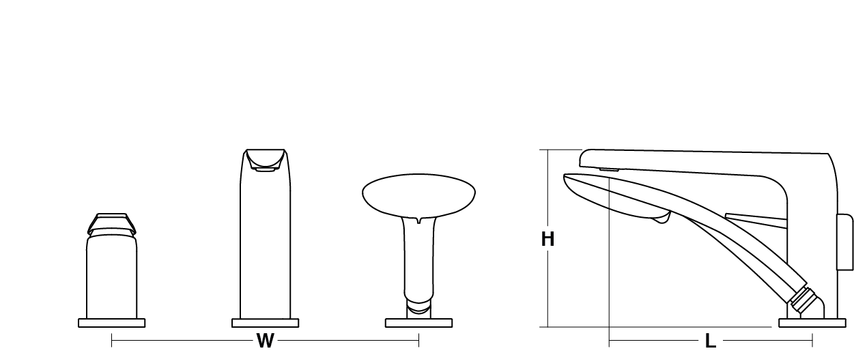 Avid single-lever 3-hole deck-mount bath filler with handshower Line Drawing