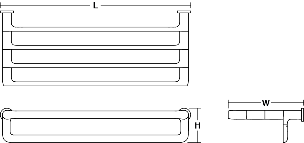 Avid Composed 610mm double towel shelf Line Drawing