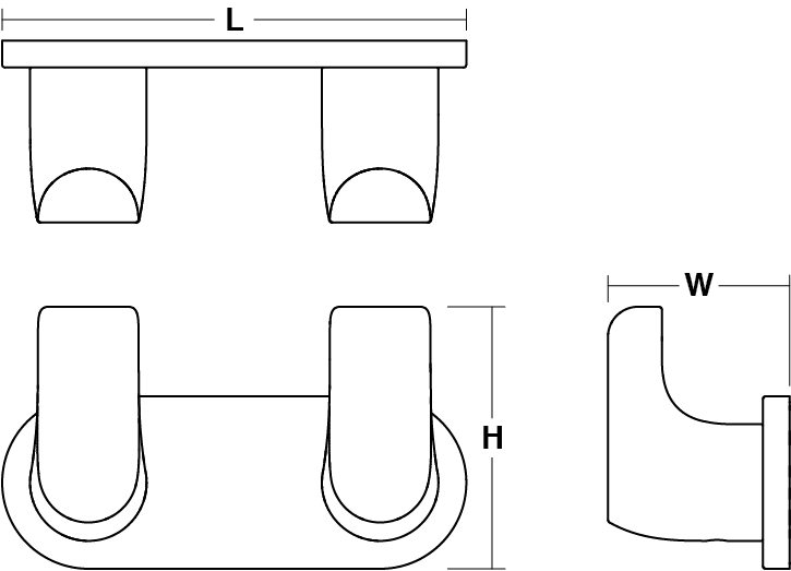 Avid Composed double robe hook Line Drawing