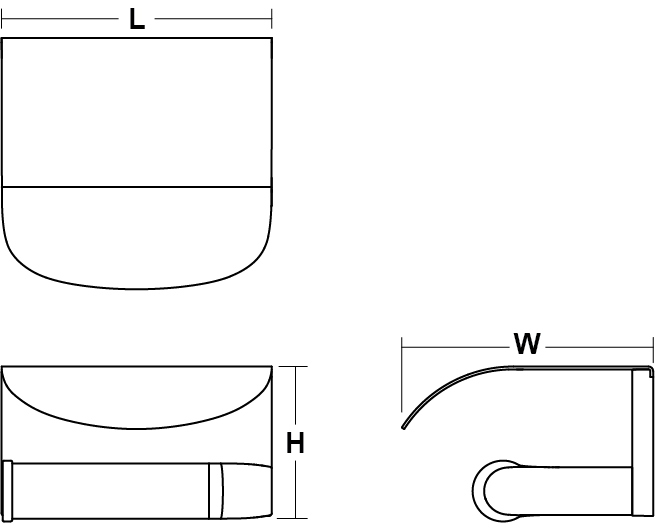 Avid Composed covered toilet roll holder horizontal Line Drawing