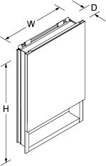 Verdera 510mm mirrored cabinet left hand hinged Line Drawing