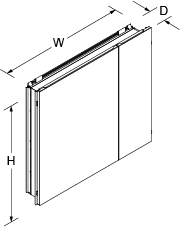 Verdera 860mm mirrored cabinet Line Drawing