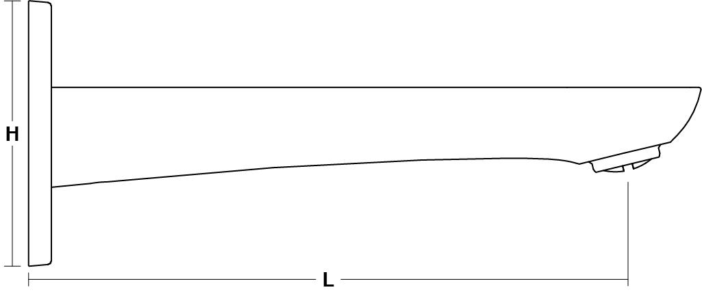 AleoWall-mount Bath Spout Line Drawing