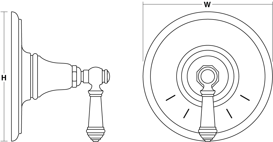 Artifacts® Built-in Thermostatic Control Valve, Lever Handle Line Drawing