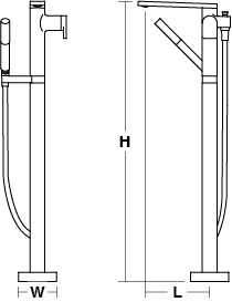 Composed floorstanding bath and shower mixer Line Drawing