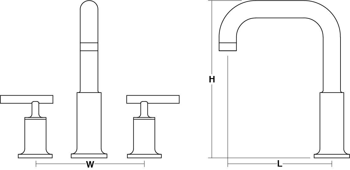 Purist 2-handle 3-hole deck-mount bath filler lever handle Line Drawing