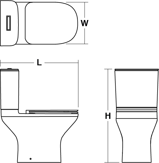 ModernLife™ Cistern dual flush 3/6L Line Drawing