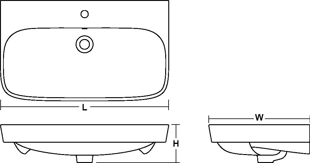 ModernLife™ vessel basin, 1000mm Line Drawing