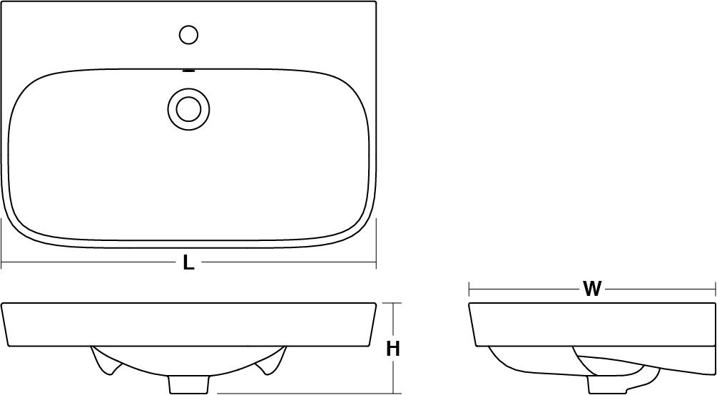 ModernLife™ vessel basin, 800mm Line Drawing