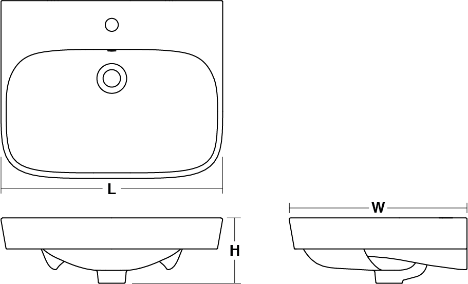 ModernLife™ vessel basin, 600mm Line Drawing