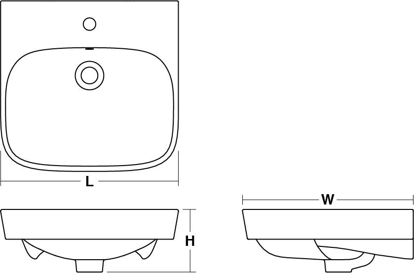 ModernLife™ vessel basin, 500mm Line Drawing