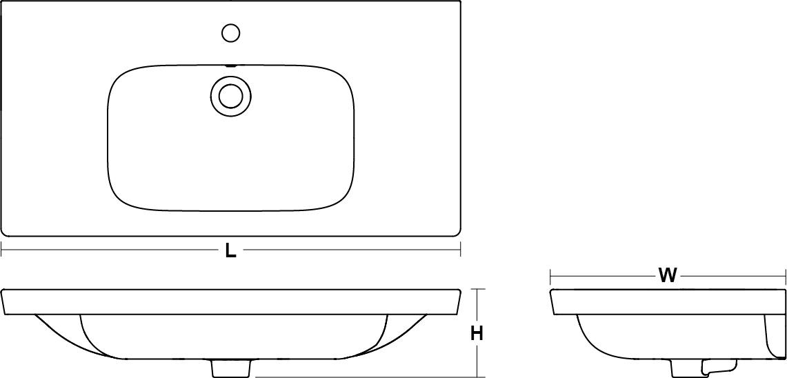 ModernLife™ Washbasin/Vanity top with glazed underside , 924mm Line Drawing