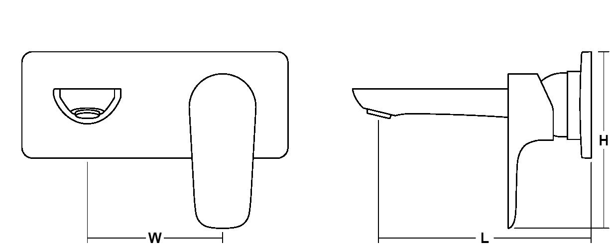 Aleo 2-hole wall mount basin mixer Line Drawing