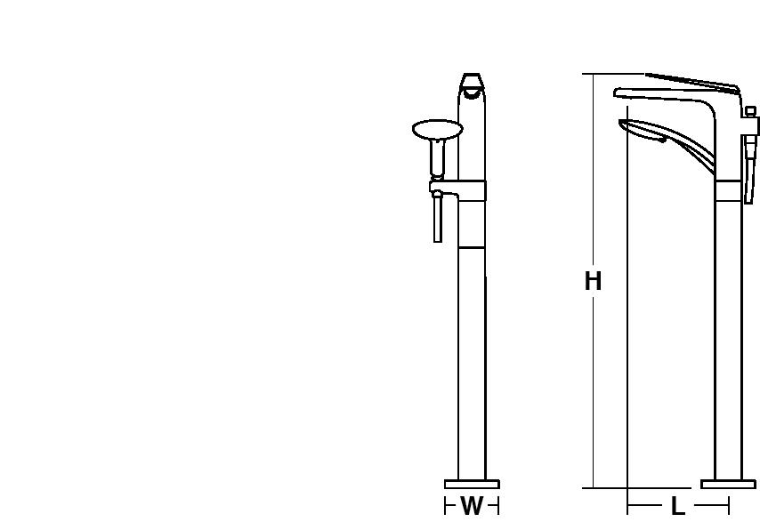 Avid floor-mount bath filler with handshower Line Drawing