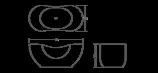 Abrazo Lithocast freestanding bath Line Drawing