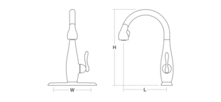 Clairette Pull-down tap Line Drawing