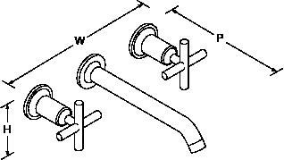 Purist 2-handle 3-hole wall-mount basin mixer cross handle Line Drawing