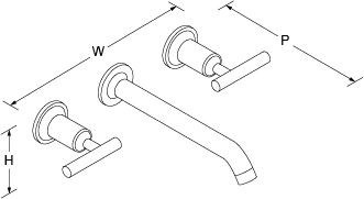Purist 2-handle 3-hole wall-mount basin mixer lever handle Line Drawing