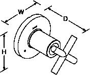 Purist 3-way transfer valve cross handle Line Drawing