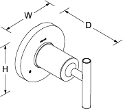 Purist 3-way transfer valve lever handle Line Drawing