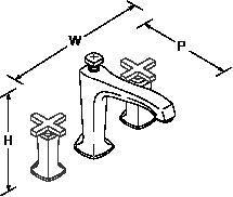 Margaux 3-hole deck-mount bath filler cross handle Line Drawing
