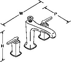 Margaux 3-hole deck-mount bath filler lever handle Line Drawing