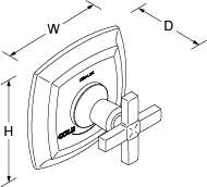 Margaux Thermostatic valve without shut-off valve cross handle Line Drawing