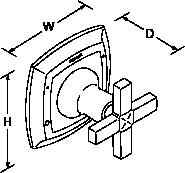Margaux Flow control valve cross handle Line Drawing