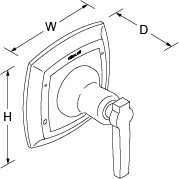 Margaux Flow control valve lever handle Line Drawing