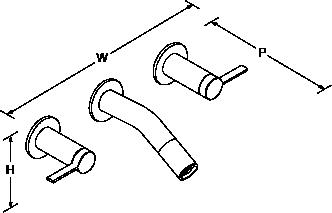 Stillness 2-handle 3-hole wall-mount Laminar basin mixer Line Drawing